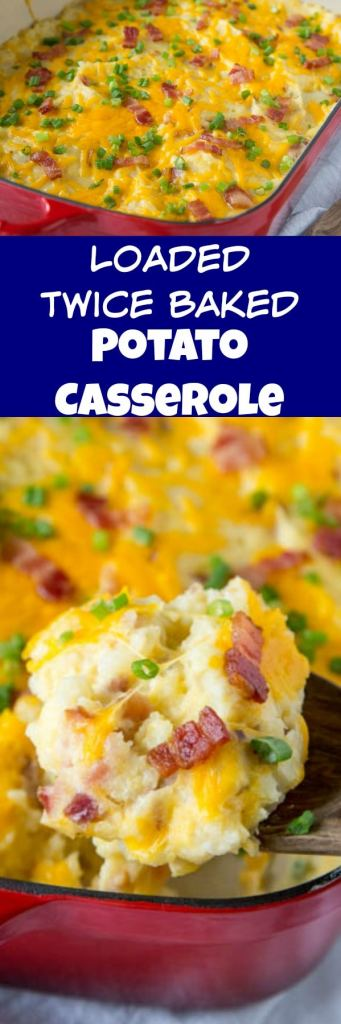 Loaded Twice Baked Potato Casserole - Turn twice baked potatoes into an easy cheesy potato casserole that will be sure to please. Loaded with garlic, cheese, and bacon!