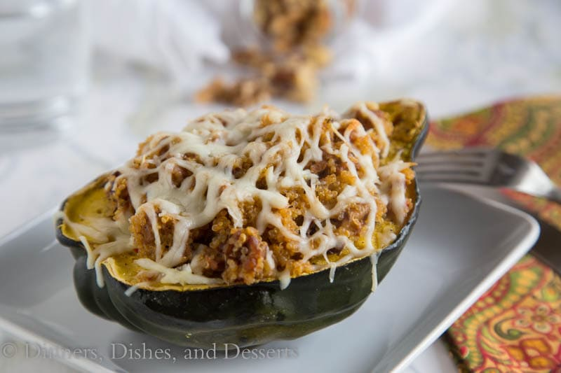 Quinoa & Sausage Stuffed Acorn Squash {Dinners, Dishes, and Desserts}