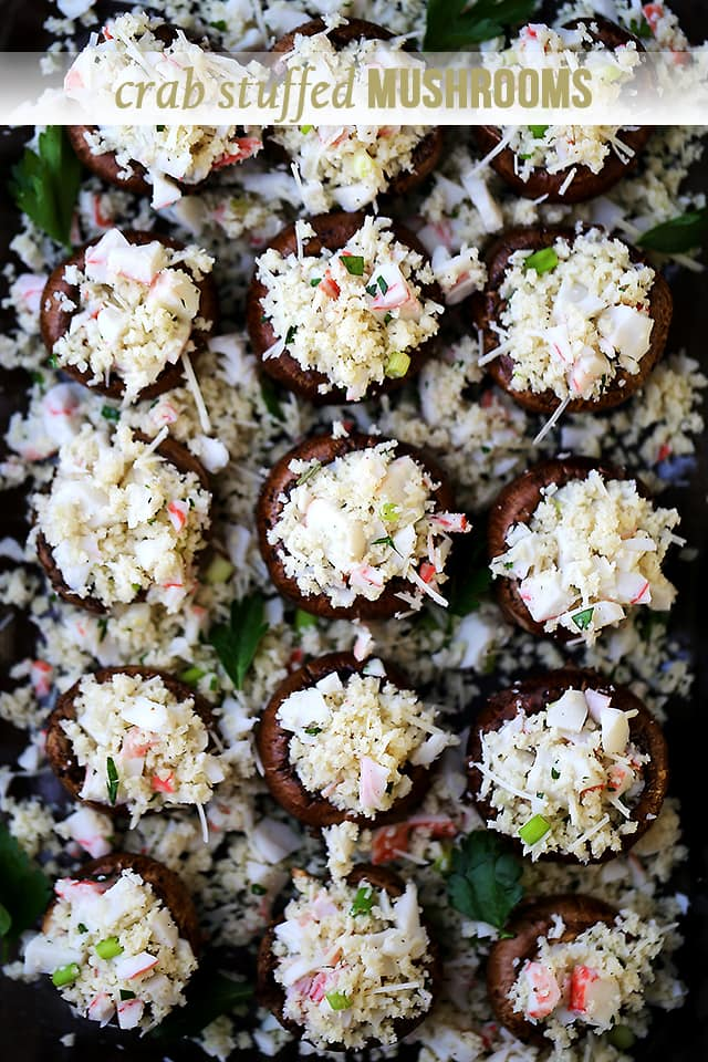 Crab Stuffed Mushrooms {Diethood}