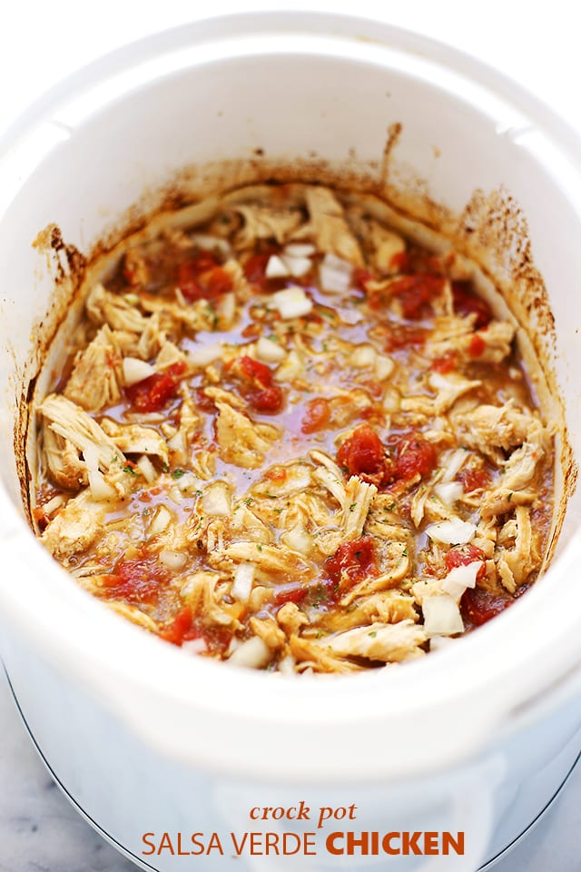 Crock Pot Salsa Verde Chicken {Diethood}
