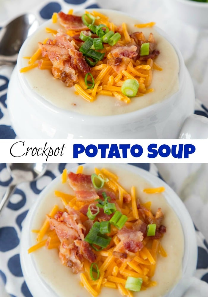 Crock Pot Potato Soup - Creamy loaded potato soup that is made in the crock pot. Perfect comfort food for a cold winter night.
