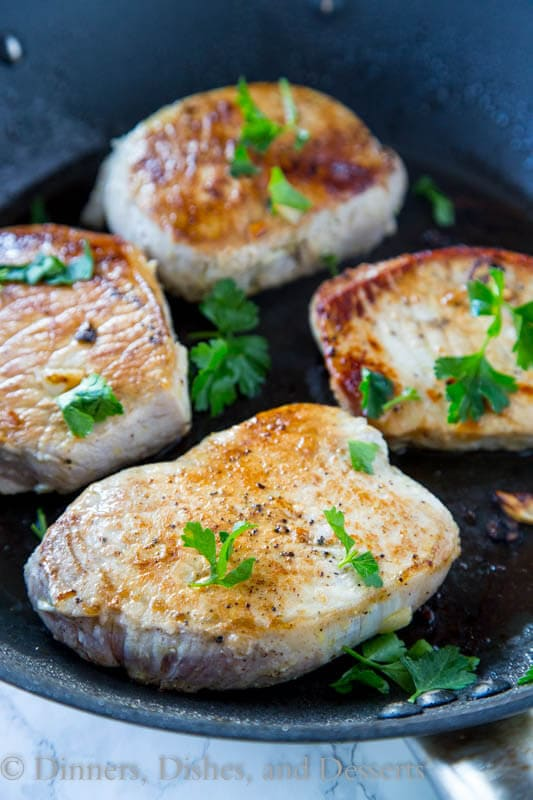 skillet of pork chops