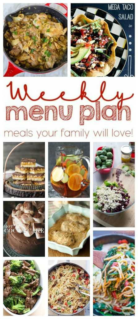 Weekly Meal Plan Week 28 - 10 great bloggers bringing you a full week of recipes including dinner, sides dishes, and desserts!