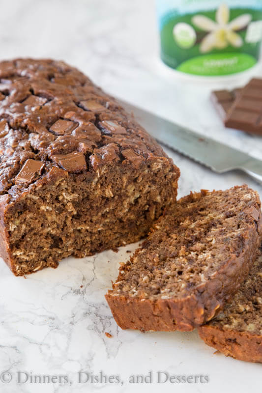 Chocolate Oatmeal Banana Bread  - Banana bread recipe made with yogurt (no butter or oil), oatmeal and studded with chocolate.  A great use for those bananas sitting on your counter!