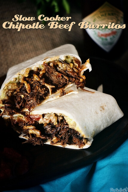 Slow Cooker Chipotle Beef Burritos {Pass the Sushi}