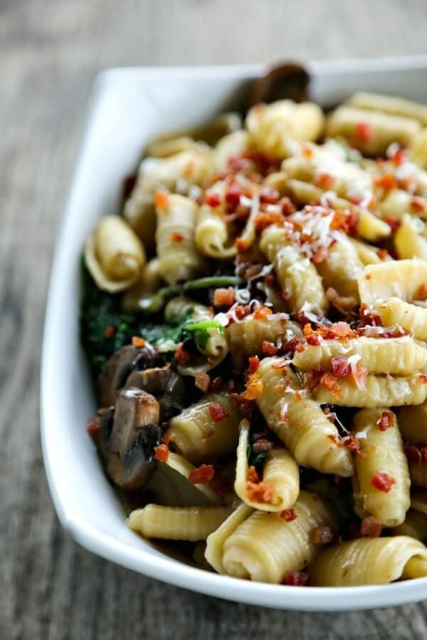 Simple Mushroom Kale Pasta with Pancetta {Foodie with Family}