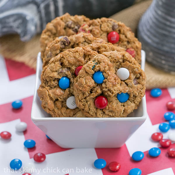 Patriotic Monster Cookies {That Skinny Chick Can Bake}