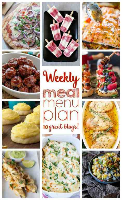 Weekly Meal Plan Week 44 - 10 great bloggers bringing you a full week of recipes including dinner, sides dishes, and desserts!