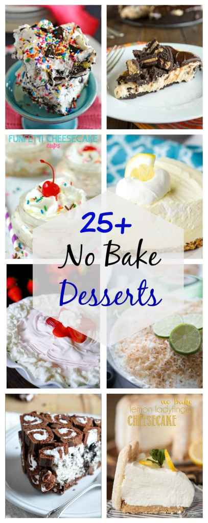 Over 25 No Bake Dessert Recipes to get you ready for summer. No need to heat up your kitchen to have dessert all summer long. Lots of great ideas to get you started.