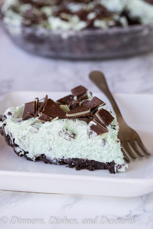 no bake mini chocolate chip pie on a plate