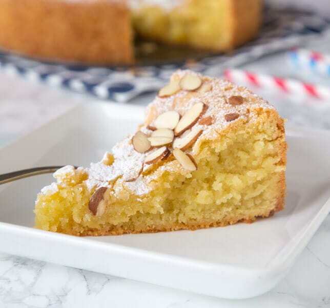 almond cake on a plate