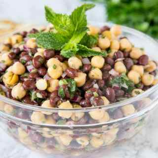 Balela Salad (Mediterranean Chickpea Salad) - a Mediterranean salad made with chickpeas, black beans, lots of fresh herbs and lemon juice. Super healthy and great as a dip or side dish.