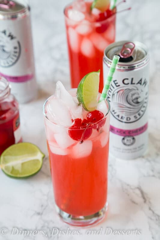 Black Cherry Limeade - a fun and easy cocktail recipe! Add a little sweetness to your limeade with Black Cherry Hard Seltzer.