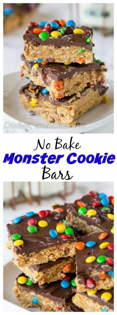 Monster Cookie No Bake Bars - all the flavors of classic monster cookies in a super easy no bake bar recipe.  No heating up the oven to make these!