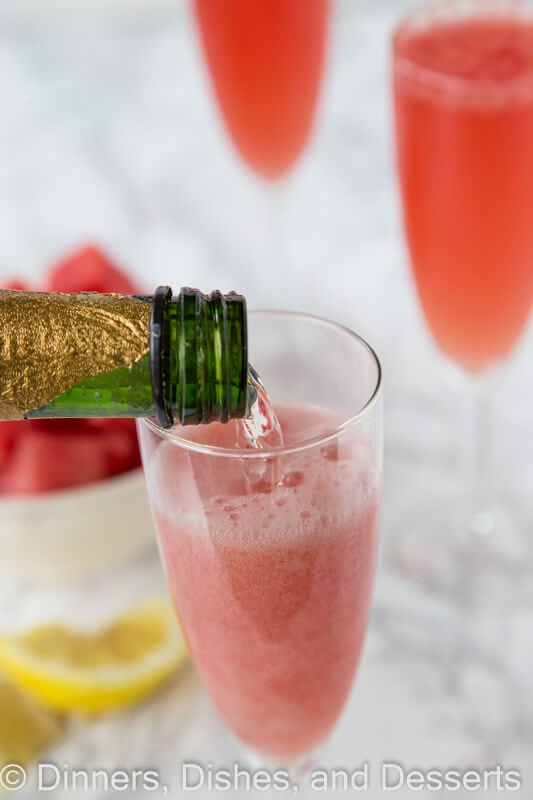 Watermelon Bellinis - a fun summer twist on the classic bellini using fresh watermelon. A refreshing cocktail recipe for a summer get together.