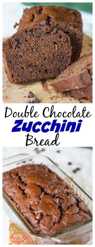 close up of double chocolate zucchini bread on board