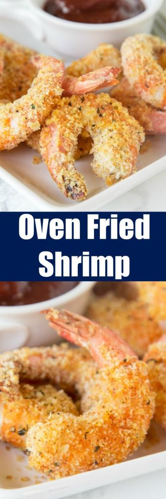 """Oven Fried Shrimp - make super crispy shrimp that is baked, not fried, and actually good for you! Your family is goign to love this batter """"fried"""" shrimp!"""