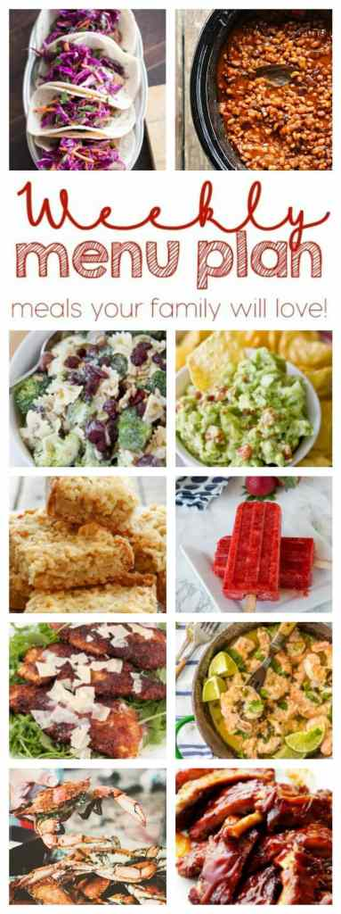 Weekly Meal Plan Week 58 – 10 great bloggers bringing you a full week of recipes including dinner, sides dishes, and desserts!