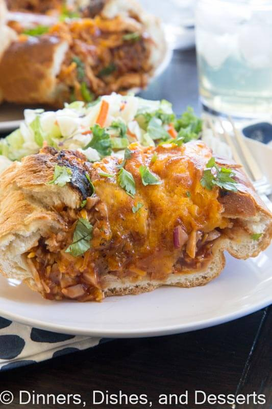 Barbecue Chicken Stuffed French Bread - French bread stuffed with chicken, barbecue sauce and plenty of cheese!! Crispy and delicious dinner!