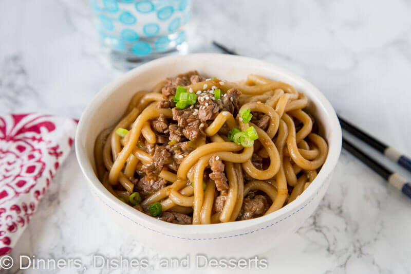 Garlic beef noodle in a bowl