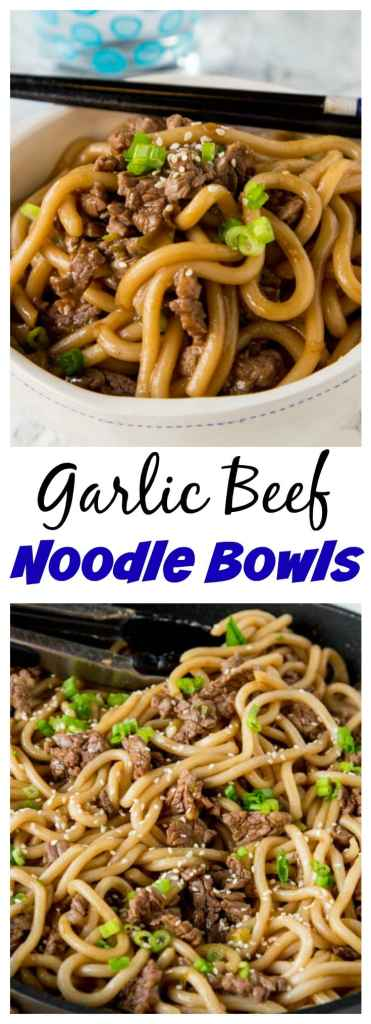 close up of Garlic beef noodle in a bowl