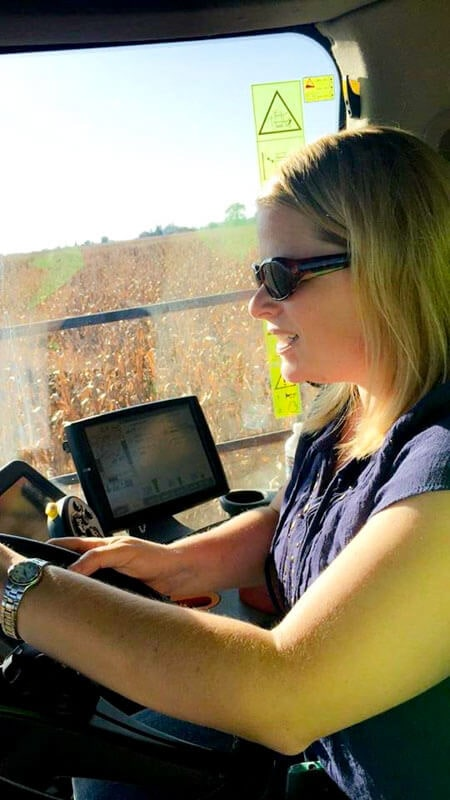 Driving a combine, harvesting corn!