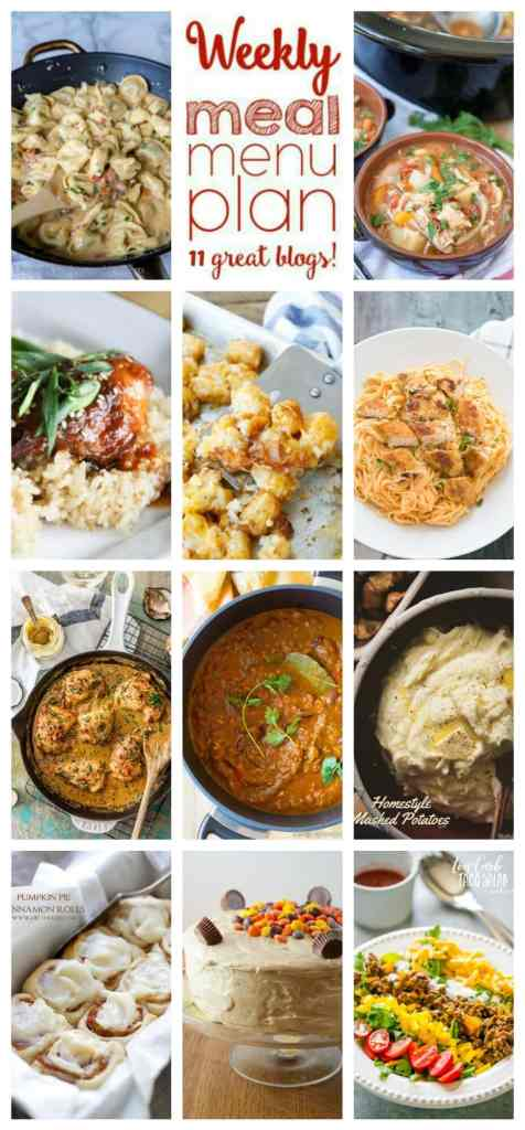 Weekly Meal Plan Week 69 – 11 great bloggers bringing you a full week of recipes including dinner, sides dishes, and desserts!