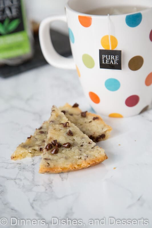 Chocolate Chip Shortbread - buttery shortbread with lots of chocolate chips. Just a few ingredients and so easy to make! Perfect for a holiday baking tray or a cup of tea!