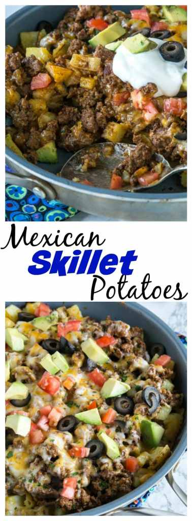 Mexican Skillet Potatoes - a quick and easy one pan Mexican recipe. Crispy potatoes, taco meat, salsa, cheese and more!So much better than just regular tacos.
