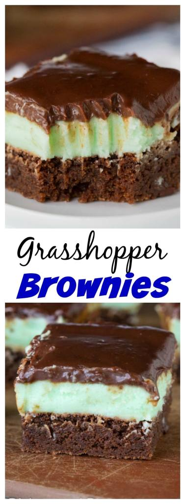 Grasshopper Brownies - fudgy brownies with minty butter cream frosting and topped with a chocolate ganache.
