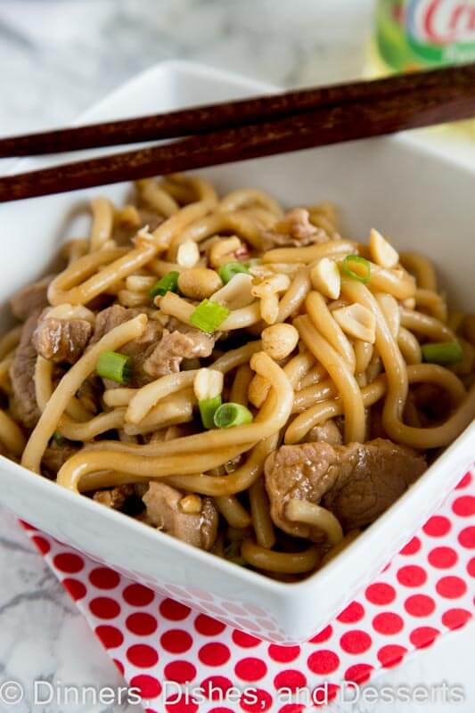 Asian Noodle Bowls with Pork - sweet, spicy, tangy, and oh so delicious! An easy dinner recipe full of so many great flavors. On the table in 30 minutes, and will disappear quickly.