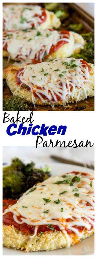 Baked Chicken Parmesan with Roasted Broccoli - a healthier version of chicken Parmesan all made on one baking sheet! Super easy, quick and definitely family friendly.