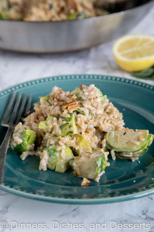 Short Cut Risotto with Brussels Sprouts - get creamy risotto in minutes using a simple short cut. Plus it is actually pretty good for you!