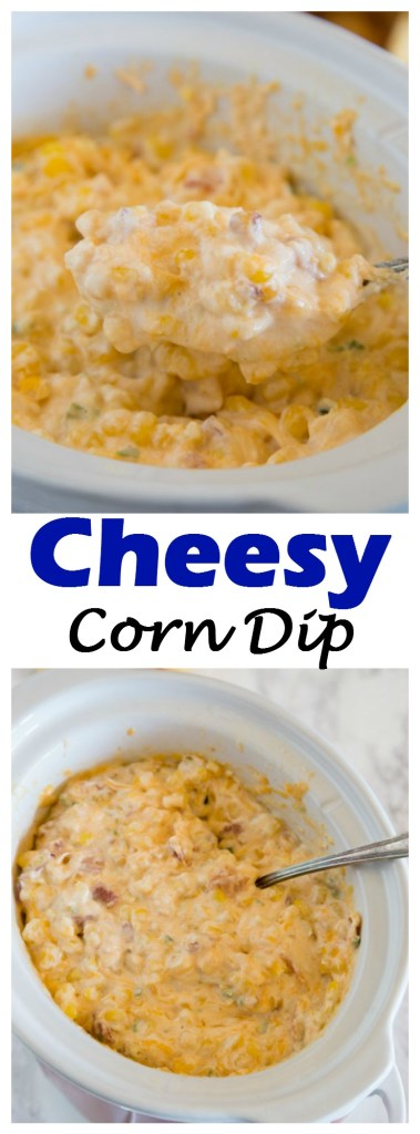 Cheesy Corn Dip - a delicious hot dip with jalapeno, corn, bacon, and plenty of cheese! Comes together in minutes, and perfect for snacking or entertaining! #food #recipe #corndip #appetizer #gameday #cheesy #footballfood