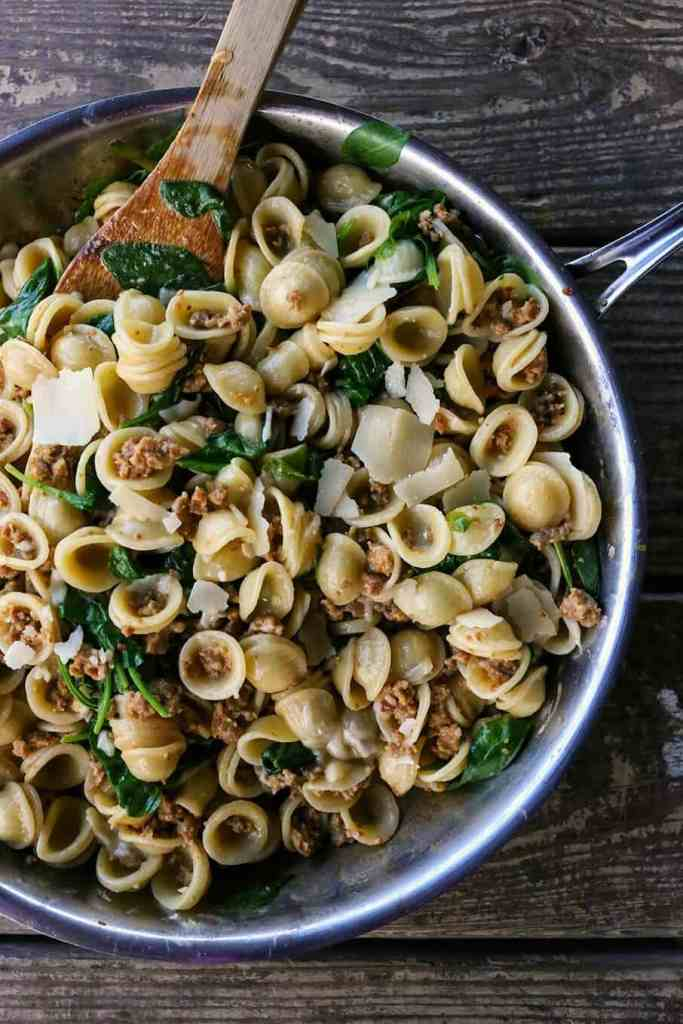 Creamy Spinach and Sausage Pasta {Foodie with Family}