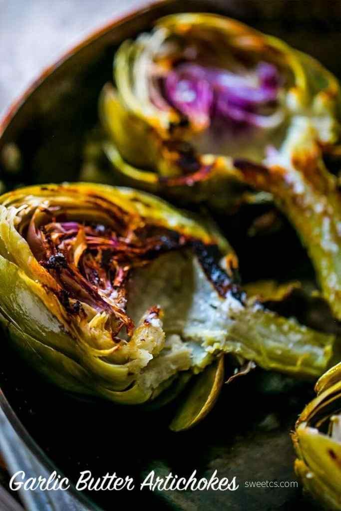 Charred Garlic Butter Artichokes {Sweet C's}