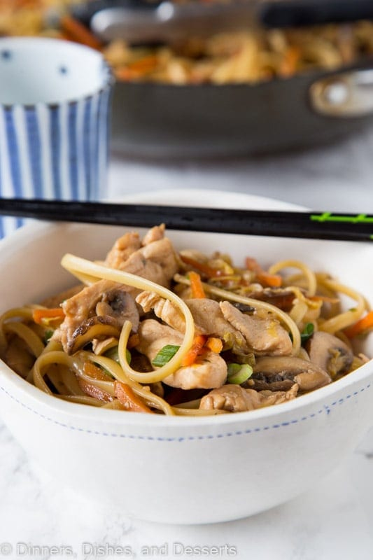 Chicken Lo Mein - make your own take out at home with this super easy Chinese chicken lo mein recipe. Full of lots of veggies, 20 minutes, and dinner is done!