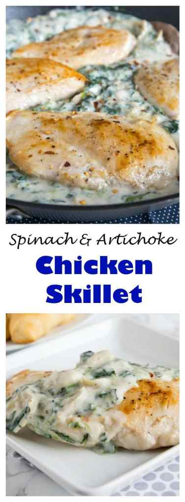 skillet of chicken with spinach artichoke sauce