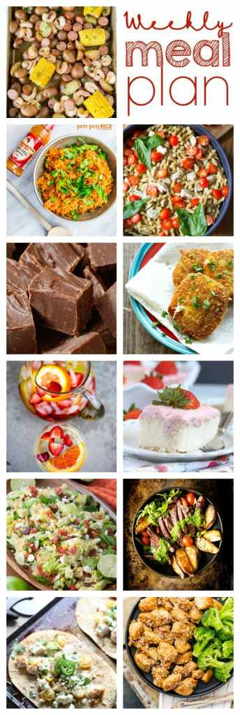 Weekly Meal Plan Week 100 - 10 great bloggers bringing you a full week of recipes including dinner, sides dishes, and desserts!