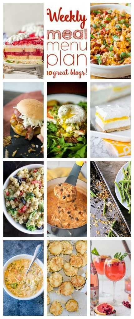 Weekly Meal Plan Week 105 – 10 great bloggers bringing you a full week of recipes including dinner, sides dishes, and desserts!