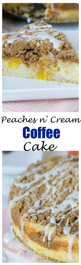 Peaches and Cream Coffee Cake -Fresh peaches give a bright and delicious twist to classic coffee cake. Enjoy with breakfast, coffee, dessert, or just because!