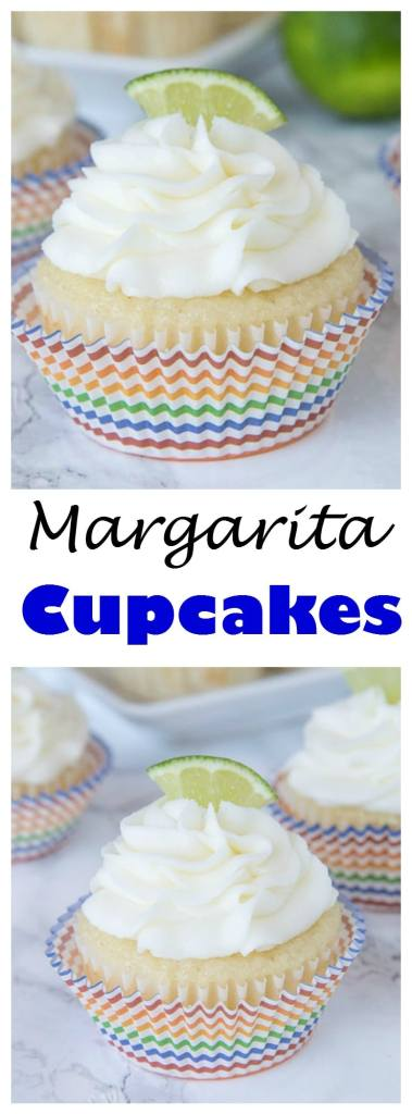 Margarita Cupcakes - Lime flavored cupcakes that are spiked with tequila! Plus a boozy lime frosting to top it off. Great for taco night, Cinco de Mayo or just because. Non-alcoholic recipe included!