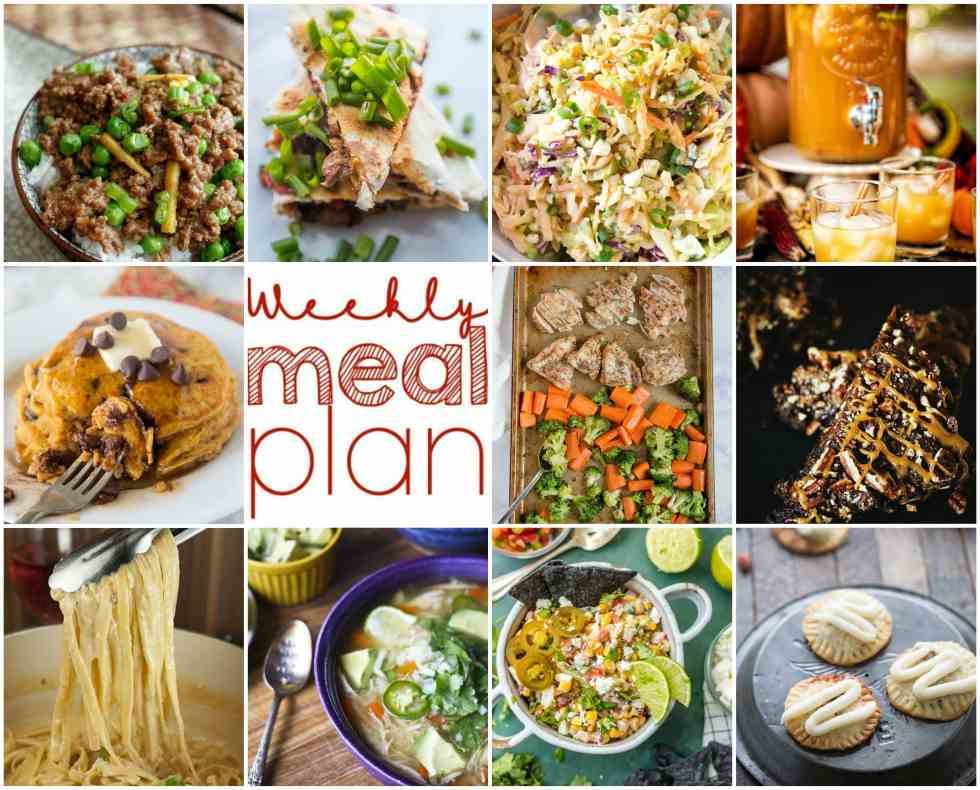 Weekly Meal Plan Week 118 - 10 great bloggers bringing you a full week of recipes including dinner, sides dishes, and desserts!