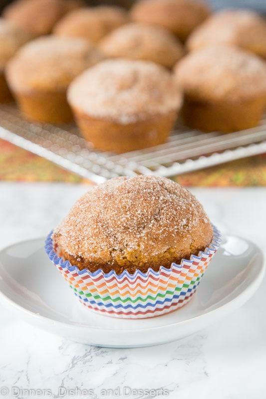 Cinnamon Pumpkin Muffins - soft tender pumpkin muffins coated in a cinnamon sugar mixture. A great fall breakfast treat!