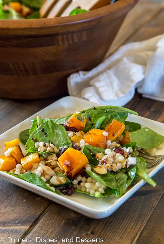Fall Couscous salad - israeli couscous salad with butternut squash, spinach, cranberries and pecans!