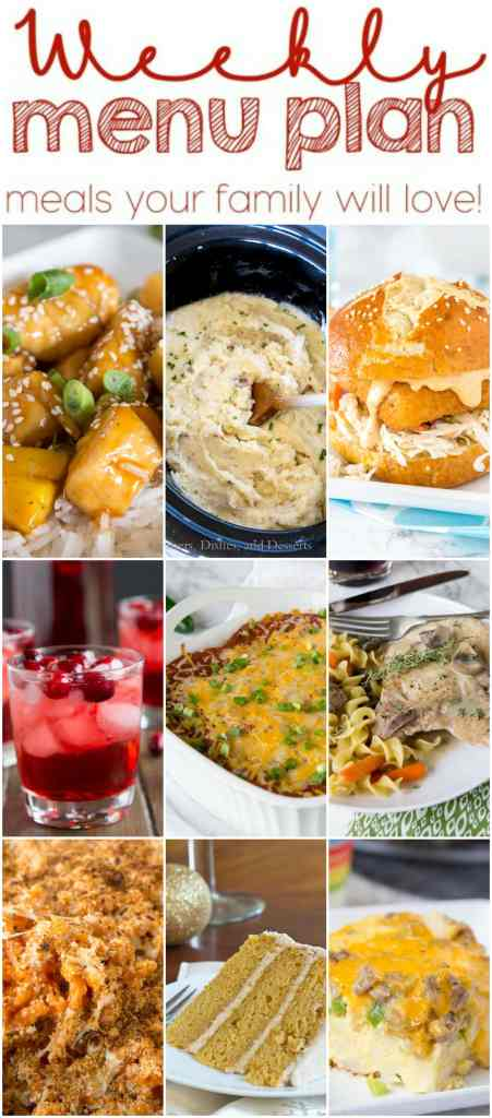 Weekly Meal Plan Week 122 - Make the week easy with this delicious meal plan.  6 dinner recipes, 1 side dish, 1 dessert, and 1 fun cocktail make for a tasty week!