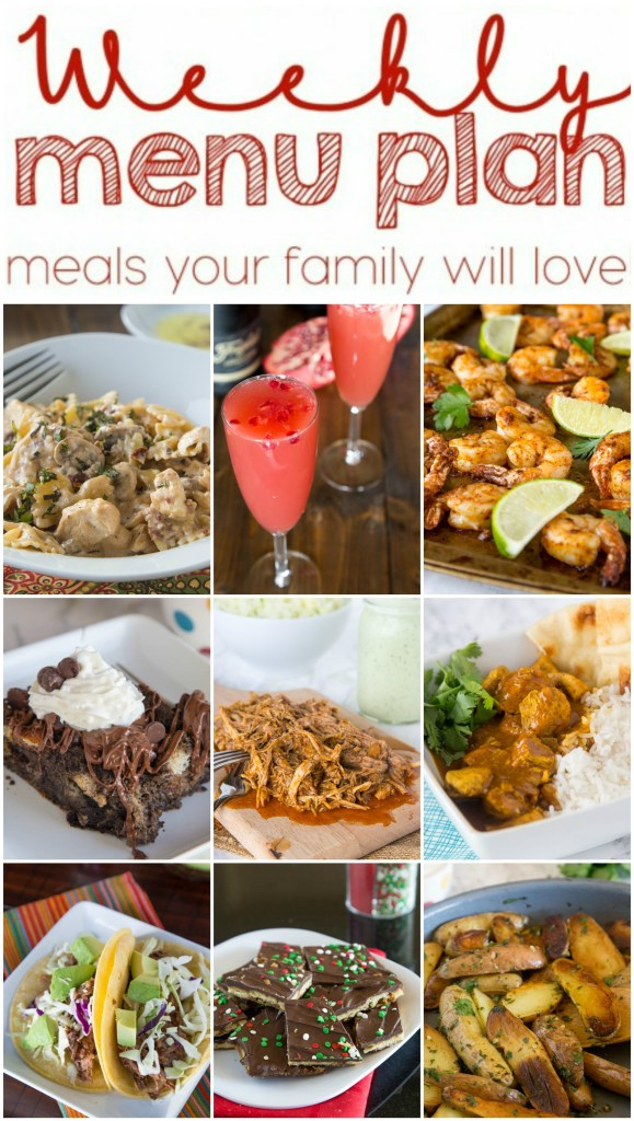 Weekly Meal Plan Week 126 - Make the week easy with this delicious meal plan.  6 dinner recipes, 1 side dish, 1 dessert, and 1 fun cocktail make for a tasty week!