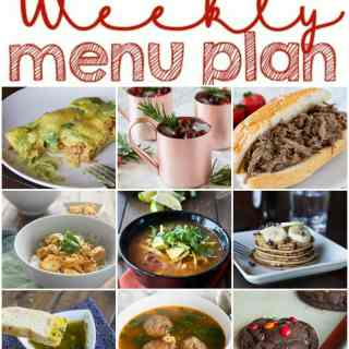 Weekly Meal Plan Week 124 - Make the week easy with this delicious meal plan.  6 dinner recipes, 1 side dish, 1 dessert, and 1 fun cocktail make for a tasty week!