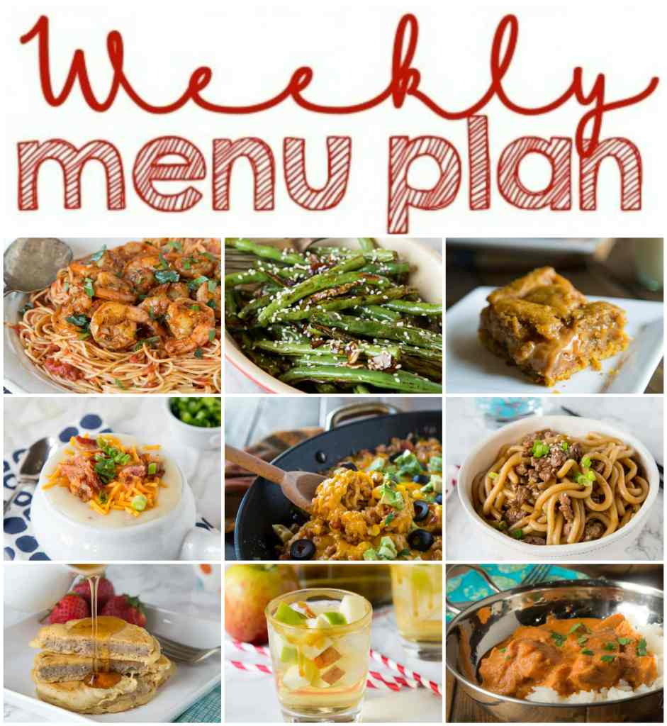 Weekly Meal Plan Week 123 - Make the week easy with this delicious meal plan.  6 dinner recipes, 1 side dish, 1 dessert, and 1 fun cocktail make for a tasty week!