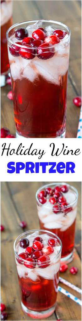 Holiday Wine Spritzer Recipe - a fun cocktail that you can serve at all your holiday get togethers! Wine, ginger ale, cranberry juice and cranberries make it festive and delicious! #cocktail #wine #happyhour #christmasdrinks #drinks #winespritzer
